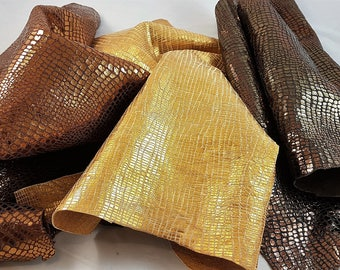 Printed cocco and tejus leather hides