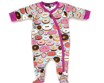 Donut One-Piece Footie Pajamas, baby onesie pajamas, baby shower gift, baby pajamas, baby hospital outfit, take home baby outfit