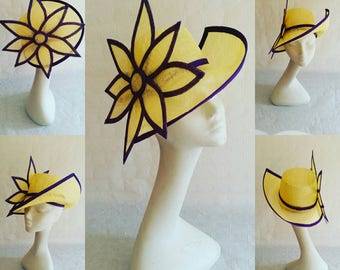 Yellow and purple sinamat trilby hat with large flower
