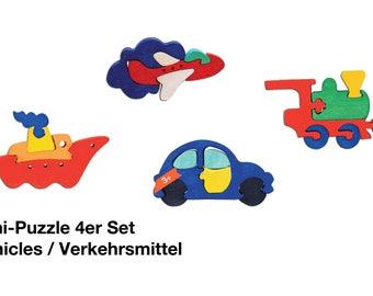Mini Puzzle 4er Set Vehicles/ Waldorf / Montessori / Wooden Toys / Car / Plan / Train / Ship  / Puzzle / Toy /handmade