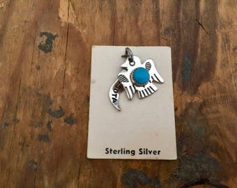 Vintage JP Sterling Silver and Turquoise Minnesota Native American Thunderbird Tourist Charm