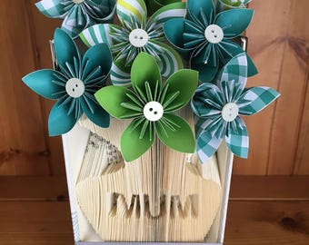 Mum Vase Bookfold with Origami Paper Flowers
