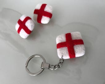 Needle Felted St George's Day Flag Keyring & Brooch Pins