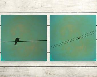 Three little Birds, set of 2 size 30 x 30 cm