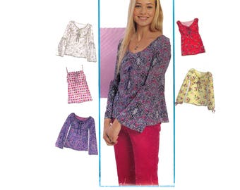 New Look 6045 Sewing Pattern, Size 3/4-13/14 Women's Tunic Top Empire Waist, Camisole Top, Lantern Sleeve Spaghetti Tank Top Bell Sleeves