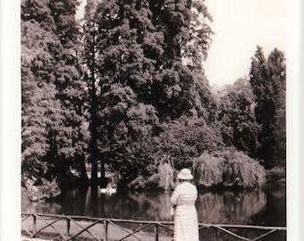Vintage 60s Mid Century Black & White Photo Snapshot European Travel Landscape Garden Scene Swans