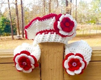 Kids Crochet Beret with Matching Scarf