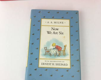 """Vintage 80's Winnie the Pooh Book """"Now We Are Six"""", A.A. Milne Book, Vintage Winnie the Pooh Book, Children's Book"""