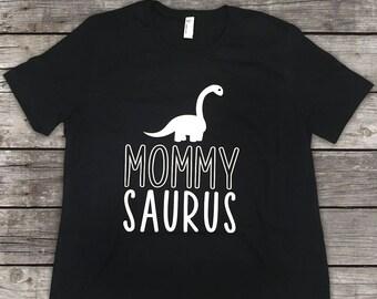 Custom Mommy Saurus Shirt- Dinosaur Shirt - Black & White - Mommy Saurus