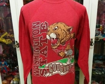 Vintage 90's Washington State Cougars American Football Pullover Sweatshirt Sweater