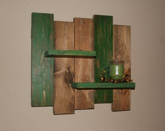 Rustic Wood Wall Shelf-  Reclaimed Wood Shelf-  Distressed Pallet Wood- Primitive Home Decor-  Green Wall Decor