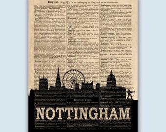 Nottingham Print, Nottingham Skyline, Nottingham Wall Art, Nottingham England, Nottingham Poster, Nottingham Art, Nottingham Decor