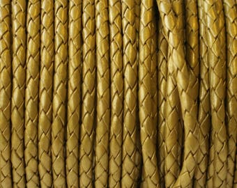 "4mm Top Quality  Round Braided leather cord. Gold - (Qty. - 1M/39.4"") -17814"