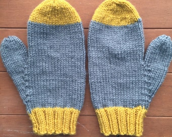 Gray and Mustard Classic Mittens
