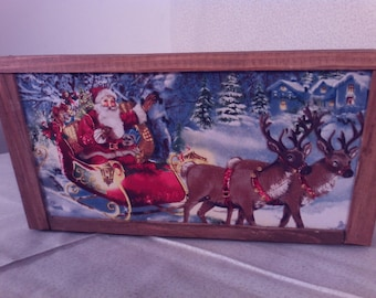 SALE25% OFF  Wooden Centerpiece, basket Santas Rain deer on Christmas Eve, Beautiful Welcome to papasoldplace stock#254was22.95