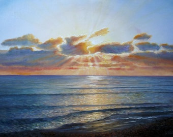 "Original Oil Painting by Oleg Riabchuk ""Sunset"""
