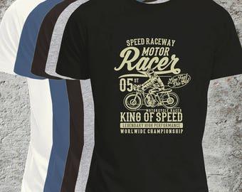 Biker T-Shirt, Mens or Flattering Fit Women's, Motor Racer, King of Speed, Take The Long Road