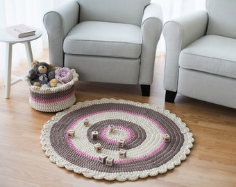 Rope Crochet floor rug and toy storage basket - House warming gift, Summer home decor