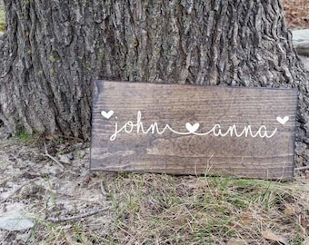 Personalized Names Wooden Sign - Custom Valentines Day Gift