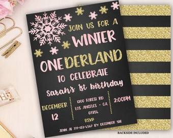 winter onederland invitation, girl onederland birthday invitation, snowflake invitation, winter first birthday invitation, pink black gold