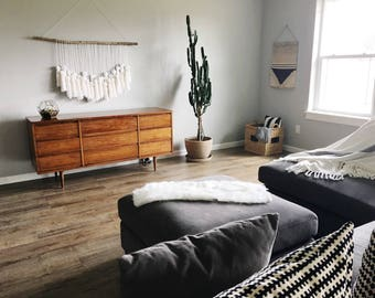 Boho Wall Hanging, wall hanging, indigo hanging, yarn Garland, birch branch, white wall hanging, yarn tassels, crib mobile, nursery wall art