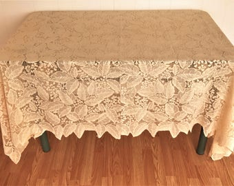 Vintage Lace Tablecloth, Peachy Beige Colored Leaf Pattern Machine Lace Tablecloth, Large Vintage Beige Lace Tablecloth, Lace Tablecloth