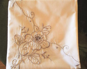 Vintage Luncheon Tablecloth  Cream/Ecru Color Taupe Embroidered Flowers, Vintage Table Topper, Vintage Table Linens