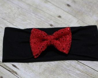 Sequin bow on Black Headband