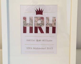 Beautiful bespoke baby name and date of birth framed