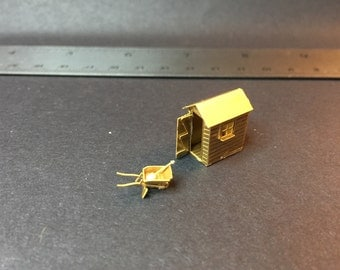 Miniature 1/144th scale garden shed with accessories