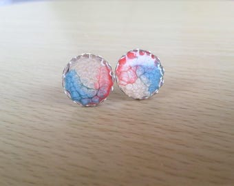 Blue, white and red stud earrings