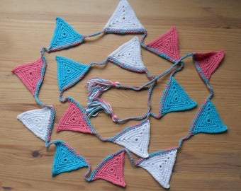 Aqua blue, Candy Pink and white crocheted bunting
