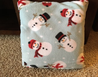 Snowman quillow, blanket in a pillow, throw, fleece quillow, fleece blanket