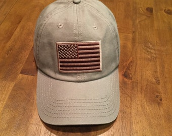 Desert American Flag/Tan Garment Washed Low Profile Tactical Cap Dad Hat