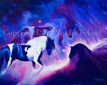 HORSEHEAD NEBULA ART Horse Art Fine Art Giclee Print Fantasy Horse Painting Astronomy Art Signed Print Giclee Blue Purple White Pinto Horse