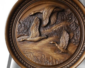 Vintage, 1970's, Flying, Canadian, Geese, Canada, Goose, Round, Wood-Carved, Wall Art, Wall Hanging