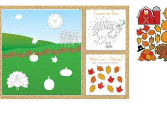 Thanksgiving Kid's Activity Placemats W/Stickers package of 8, thanksgiving decoration