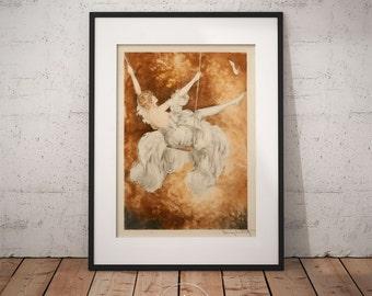 Swing by Louis Icart, Art deco Wall Art, Framed print, PP036