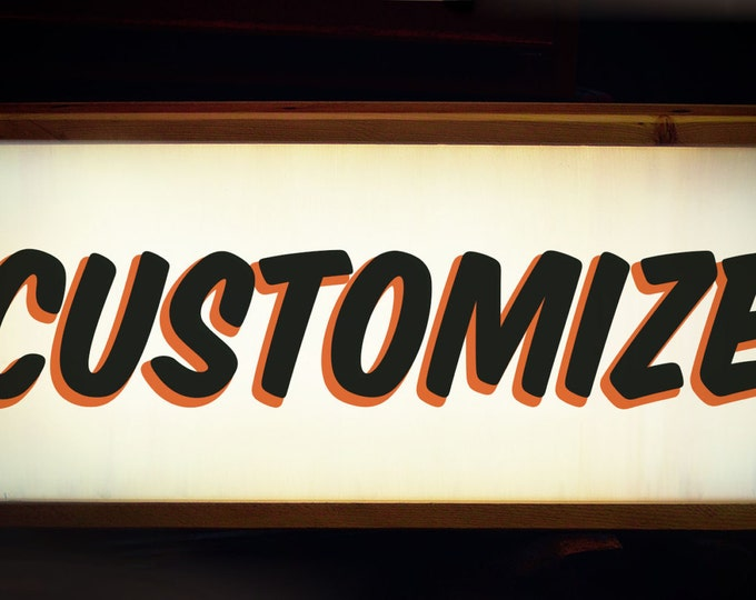 Midcentury Modern Bold Custom Light Box Sign with remote LED Light!