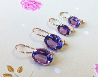 Amethyst earrings - gold drop earrings - Amethyst jewelry - Elliptical gemstone - Dangle Amethyst - February birthstone - Purple jewelry