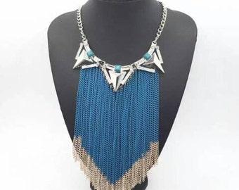 Blue fringe necklace, blue multistrand statement necklace, silver and blue bib necklace