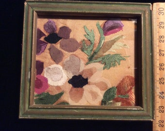 Antique Victorian Silk and Velvet Fragment Miniature Art in Antique Frame under Glass, Floral