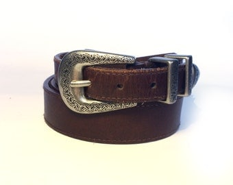 Genuine leather western belt with conchos,