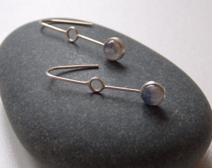 Silver and moonstone pendant earrings