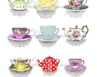Clipart Teacups & Tea Pots, 9 Digital Images for Instant Download, Tea Cup Graphics