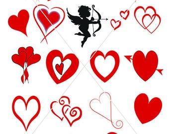 Digital Download, Red Love Hearts, Valentine Graphics, PDF and JPG Files