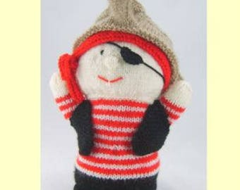Pirate Hand Puppet Knitting Pattern, Pirate Knitting Pattern, Hand Puppet Knitting Pattern, Play Puppet Knitting Pattern, Imagination Toy