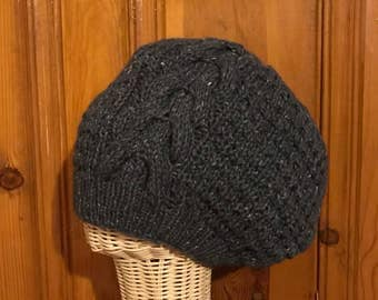 Extra Slouchy - Blue Tweed Wool Hand Knit Winter Cable Hat