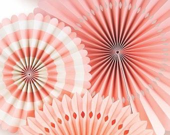 Coral Party Fan Set / Coral Fans / Party Fans / Paper Fans