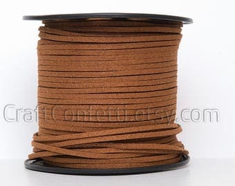 Dark brown faux suede cord 3mm Jewelry supplies Brown jewelry cord Brown suede rope Suede thread Craft project  Vegan suede cord / 2 meters